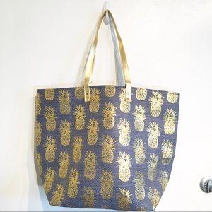 Handbags - Metallic Pineapple Print Beach Bag Tote Purse